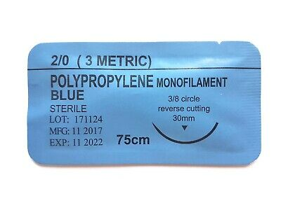 12 x PRACTISE SUTURES Polypropylene Blue Monofilament 2-0 (Non-Absorbable)