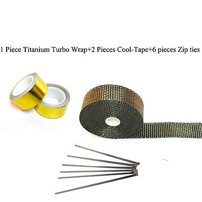 """Titanium Pipe Wrap Exhaust Turbo Heat Manifold Header 1""""x25' Roll With Gold tape"""
