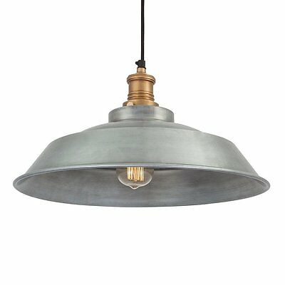 Vintage Style Step Metal Lampshade - Light Grey Pewter - 16 inch