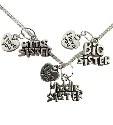 SILVER NECKLACE BIG MIDDLE LITTLE SISTER Birthstone Charm Pendant Birthday Gift