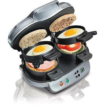Hamilton Beach Dual Breakfast Sandwich Maker Kitchen Countertop Press 25490A