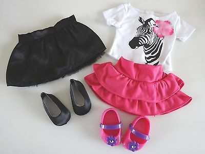"""NEW-DOLL CLOTHES -Lot #179-Skirts/ZEBRA Top/Shoes fit 18"""" Doll such as AG Dolls"""