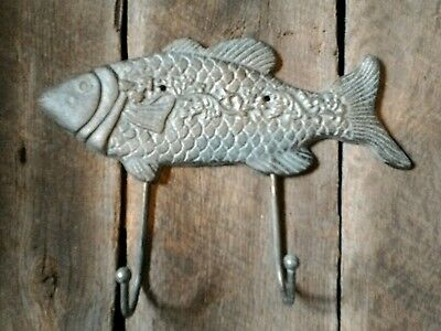 2 Cast Iron FISH Towel Hanger Coat Hooks Hat Hook, Key Rack