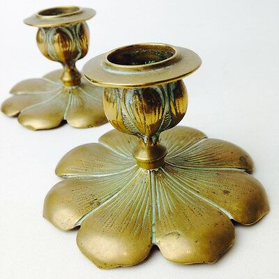 Pair Of Antique Art Nouveau Candle Holders Brass