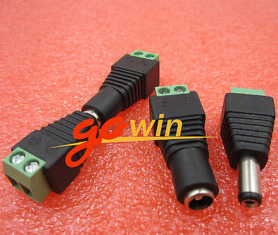 5pair Male Female 2.1 x 5.5mm 12V DC Power Plug Jack Adapter Connector for CCTV