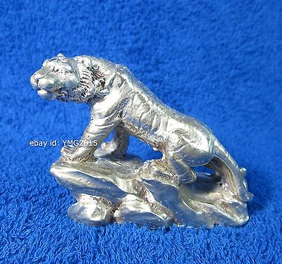 """2.5""""H Siamese-Bengal Tiger Silver Cabinet Figurine for Decor and Collectible #03"""