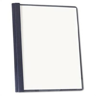 Clear Front Report Cover, Tang Fasteners, Letter Size, Dark Blue, 25/Box | 2 Pac