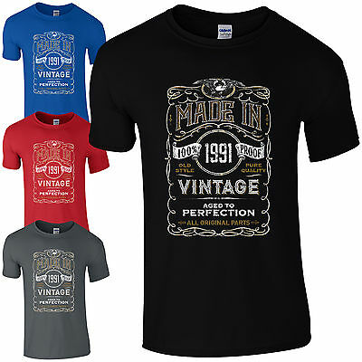 Made in 1991 T-Shirt Born 27th Year Birthday Age Present Vintage Funny Mens Gift