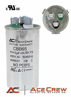 40/5 MFD uF Dual Run Capacitor 450VAC AC Electric Motor HVAC PREMIUM 40+5