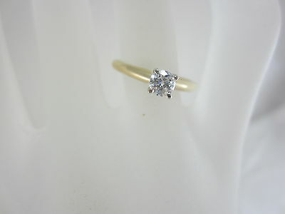14K Two-Tone Gold Diamond Solitaire Engagement Ring Size 6.75-- 2.4G/ .33Ct