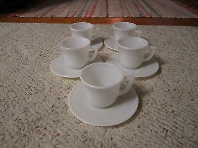 5 Glass Childs Cup's and 5 Saucers By Hazel Atlas