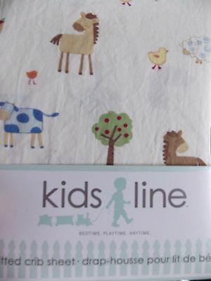 Kidsline~Country Side Farm Animals~ Fitted  Crib  Sheet~New