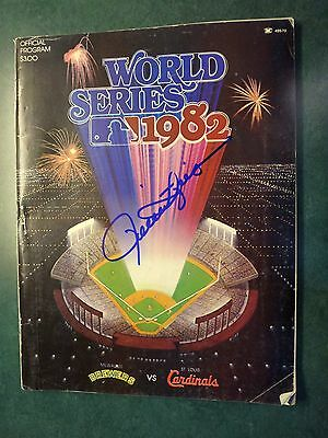 1982 World Series Program Brewers vs Cardinals Signed Autographed Rollie Fingers