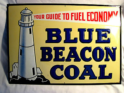 Graphic Vintage Embossed Metal Blue Beacon Coal Sign By Donaldson Art Sign