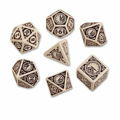 Q-Workshop Steampunk Clockwork Dice Set (7 Polyhedral) Beige & Brown SSTC74