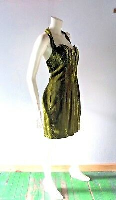 80s Betsey Johnson Dress Vintage PUNK FACE Crushed Velvet Cocktail Dress sz 6 8