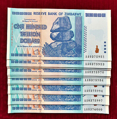 Zimbabwe 5 Pieces 100 TRILLION Dollars AA- 2008 Pick-91 UNC SHIPPING FROM CANADA