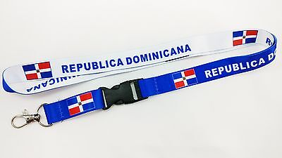 Republica Dominicana Flag Reversible Lanyard/keychain, New, Fast Free Shipping
