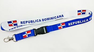Republica Dominicana Flag Reversible Lanyard/keychain, New, Free Shipping