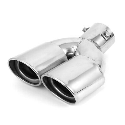 Universal Stainless Steel Dual Tip Car Exhaust Pipe Tail Muffler 60mm Inlet