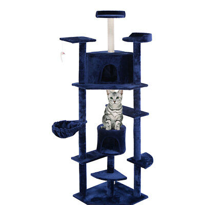 "Navy New 80"" Cat Tree Condo Furniture Scratch Post Pet House"