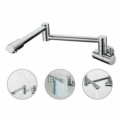 Wall Mount Pot Filler Kitchen Faucet Fold Swing Arm Brushed Nickel Single Cold