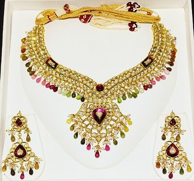 Estate Moghul Tourmaline Pearl Diamond Enamel 22K 18K Gold Necklace Earring Set