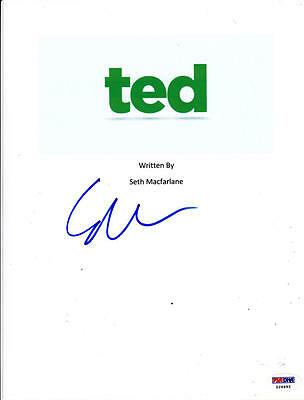 Seth Macfarlane Signed Complete 130 Page Ted Script Autograph Psa/Dna
