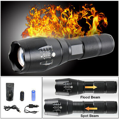 5000LM CREE T6 LED Zoomable Flashlight Waterproof Torch Light Lamp 18650 AAA UK