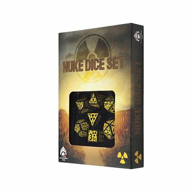 Q-Workshop Nuke Dice Set (7 Polyhedral) Revised Black & Yellow SNUR07