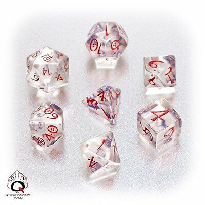 Q-Workshop Classic RPG Dice Set (7 Polyhedral) Transparent Blue & Red SCLE16