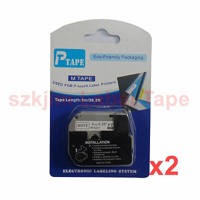 2x Brother P-touch Compatible M-K221 MK221 Black on White 9mm 8m PT 65 PT-85