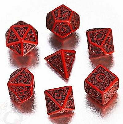 Q-Workshop Celtic 3D Dice Set (7 Polyhedral) Red & Black SCER04