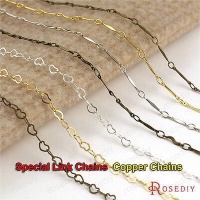 2 meters Silver Gold color Copper Rod link or heart link Necklace Chains 23558