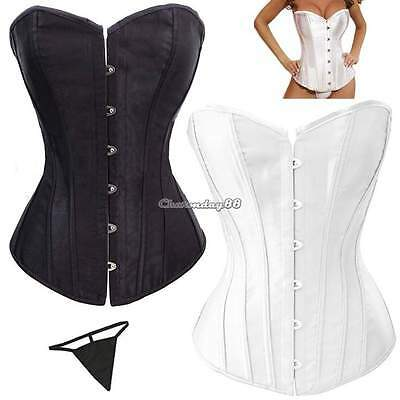 Spiral Steel Boned Waist Training Overbust Lace Up Corset Bustier Top + G-string