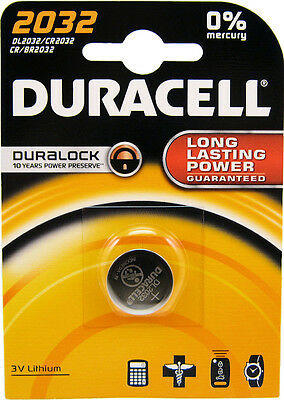 1 x Duracell CR2032 3V Lithium Coin Cell Battery 2032