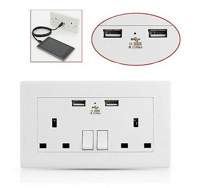 Usb Double Wall Socket 13 Amp Uk Plug 2 Gang Switch Electric Charger Power Port
