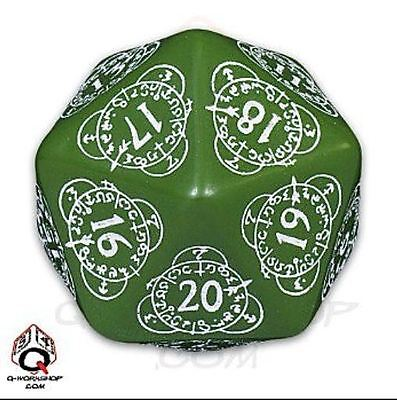 Q-Workshop Spindown Counter Oversize Dice d20 Green & White 20LEV14