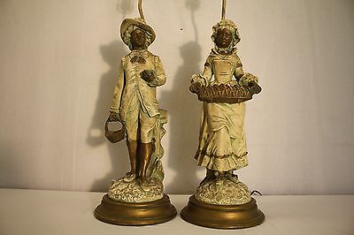 antique french man & woman hand painted gypsum lamps wood base