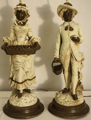 antique french man & woman hand painted gypsum lamps wood base table lamp