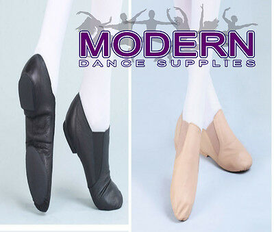 Quality Jazz shoes Leather Upper  Black and Tan Twin Gore