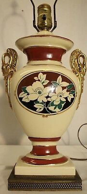 Vintage French hand painted swan porcelain gold leaf  table lamp  brass base