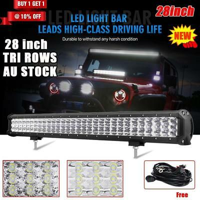 """28""""inch 1260W PHILIPS Tri-rows Spot &Flood LED Work Light Bar 4WD Truck Offroad"""