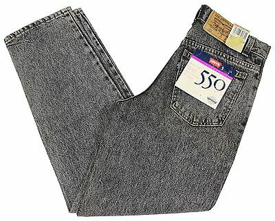 NEW VTG 90s LEVI'S 550 Relaxed Fit STONE WASH JEANS Black 28 x 28 Deadstock NWT
