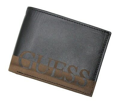 New Guess Ansel Double Billfold Black Leather Credit Card Id Case Men's Wallet