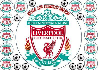 """LIVERPOOL FOOTBALL Personalised 7.5"""" Edible Cup Cake Topper Icing Or Wafer"""