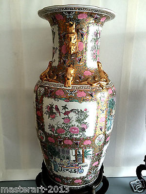 "Large Beautiful Antique Chinese Hand Paint Gold Handle Porcelain  Vase 36"" H"