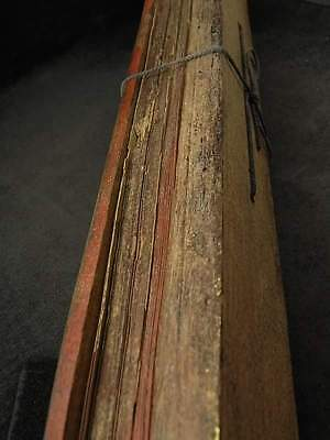 Thai antique carving Wood Buddhist Book manuscript 100-150 year vintage RARE!!