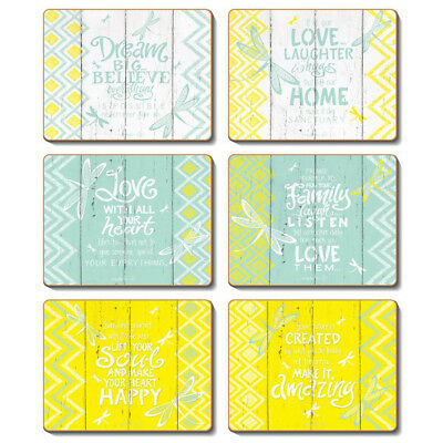 HELLO YELLOW - Set of 6 Placemats and Coasters Lisa Pollock Cork Back