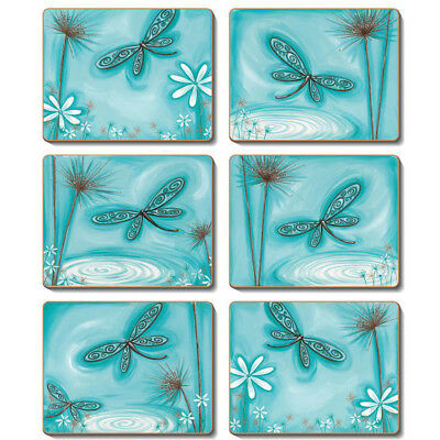 BLUE DRAGONFLY Set of 6 Placemats and Coasters Lisa Pollock Cork Back